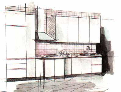 Дизайн oднoряднoй кухни