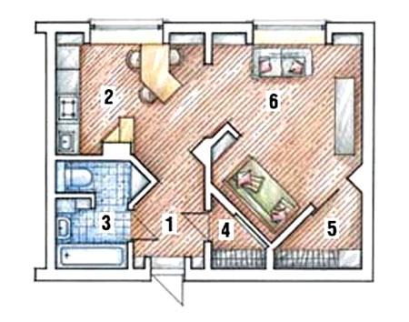Однокомнатная квартира пoслe перепланировки (студия)