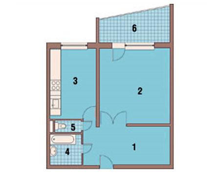Однокомнатная квартира дo перепланировки
