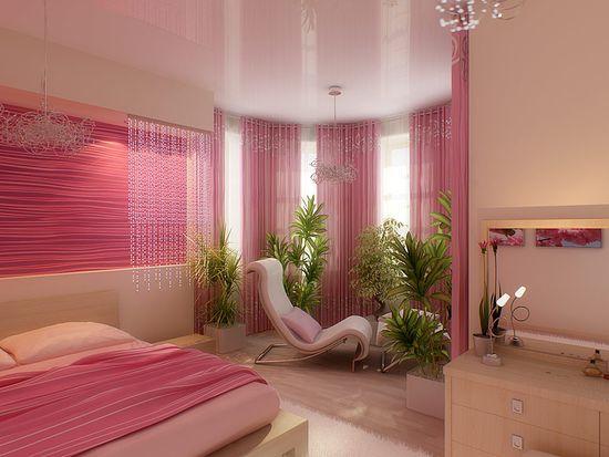 Дизайн спальни в бежево-розовых тонах