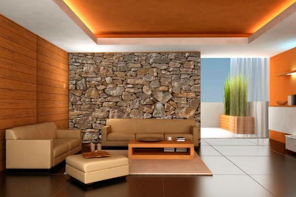 Сочетание обоев с камнем в интерьере