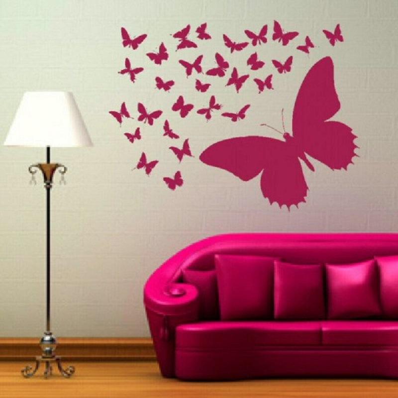 Бабочки в интерьере на стене своими руками трафареты