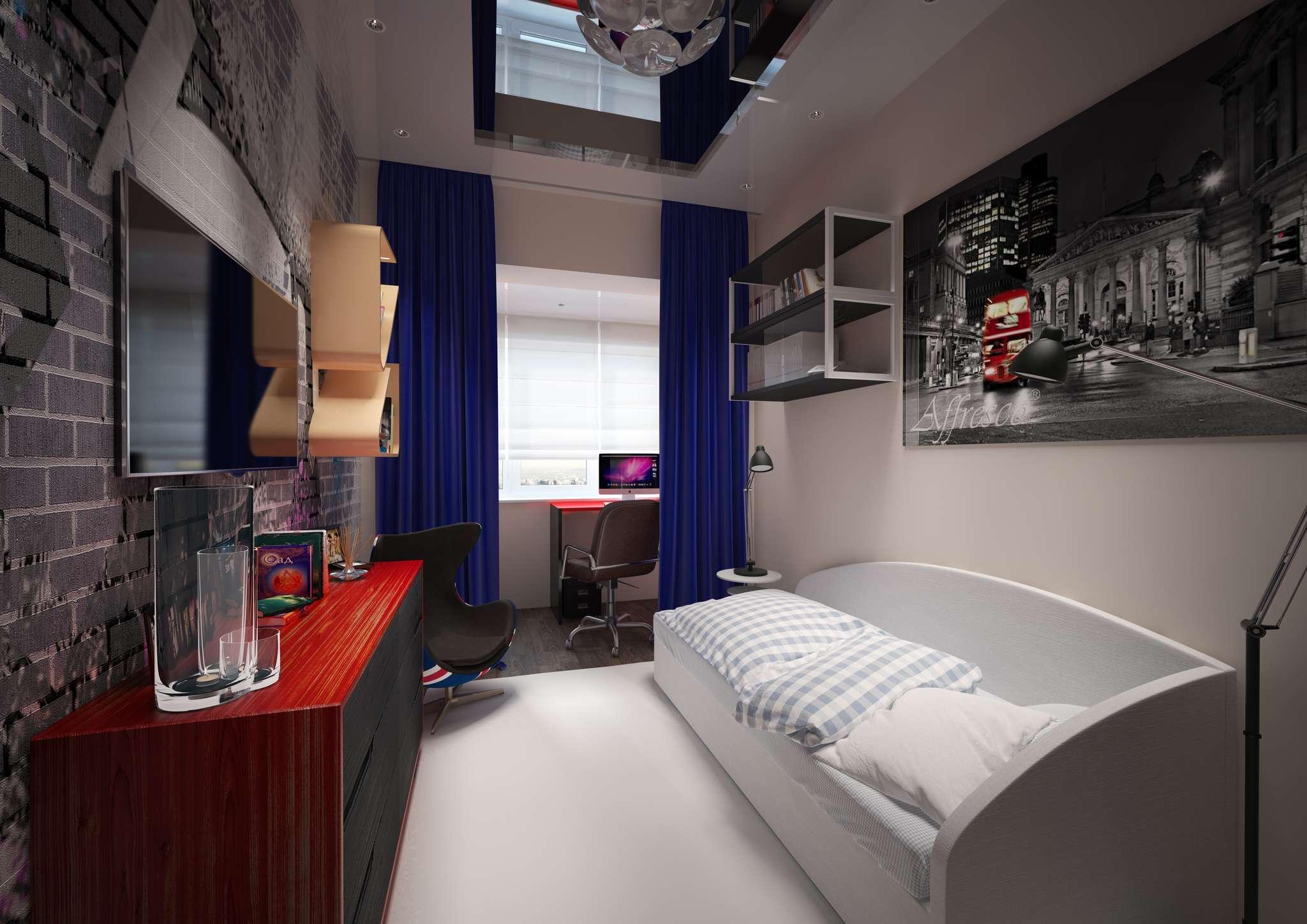 Дизайн комнаты подростка мальчика фото маленькая