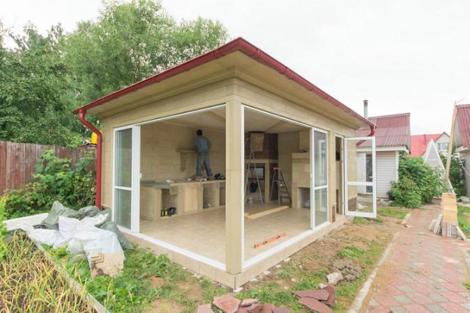 Летняя кухня к дому своими руками проекты