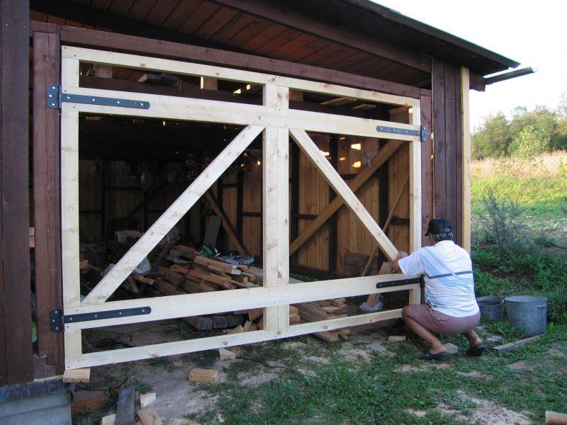 Ворота для деревянного гаража своими руками