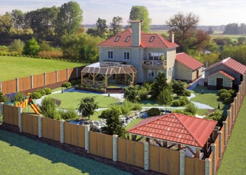 Дизайн частного дома с участком
