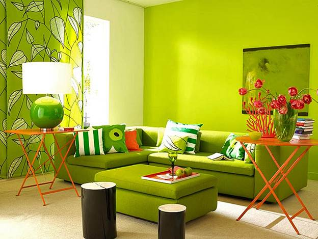 Картинки по запросу зеленые обои в комнате