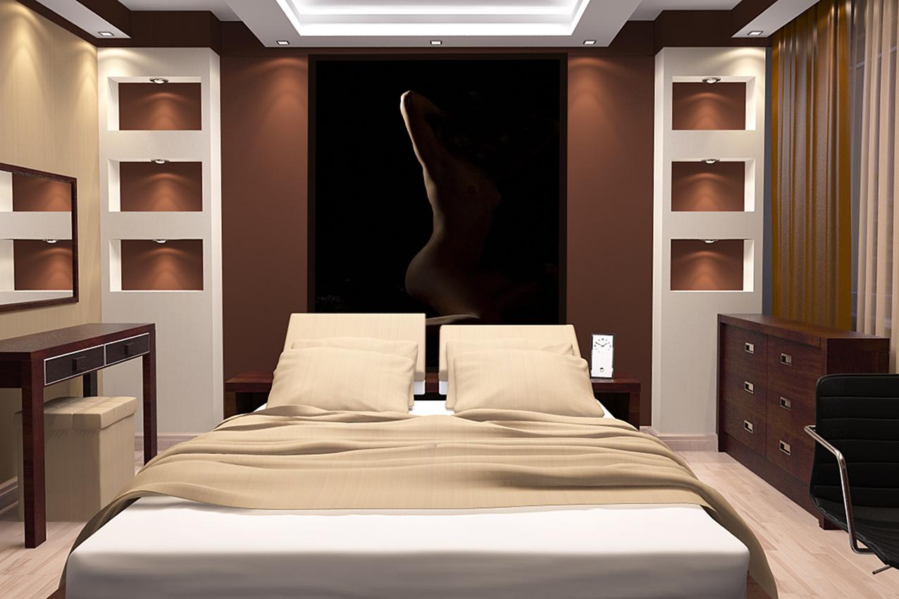Спальня дизайн шоколадные тона 156