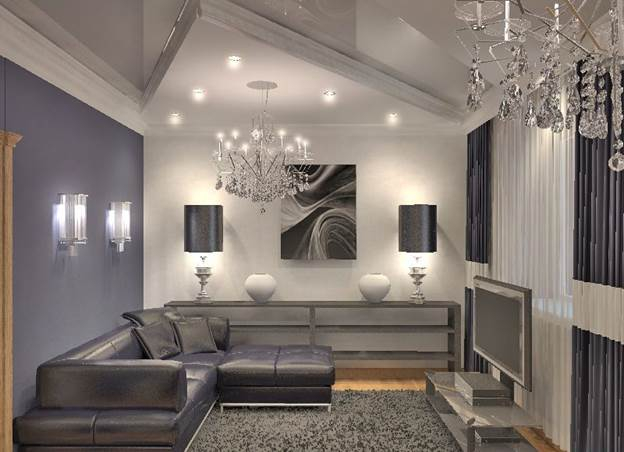 Фото дизайна зала в серо белых тонах