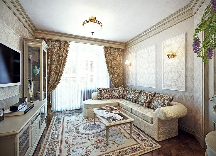 обои для маленького зала в квартире фото