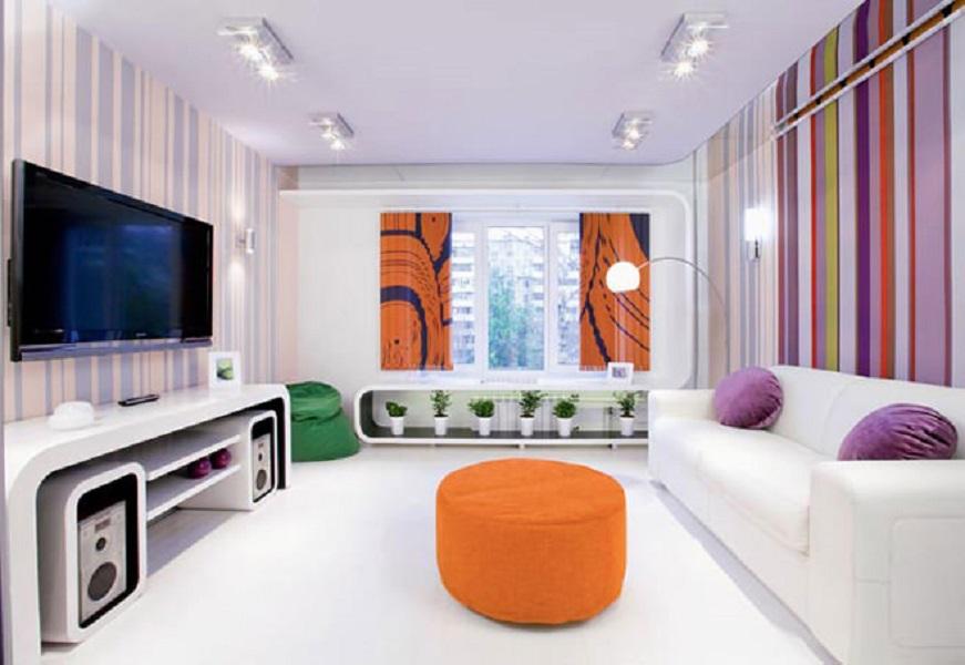 """Интерьер гостиной 18 кв м с балконом """" улетный дизайн."""