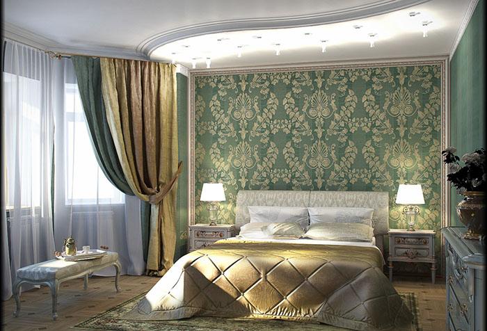 зеленые обои какие шторы подобрать фото