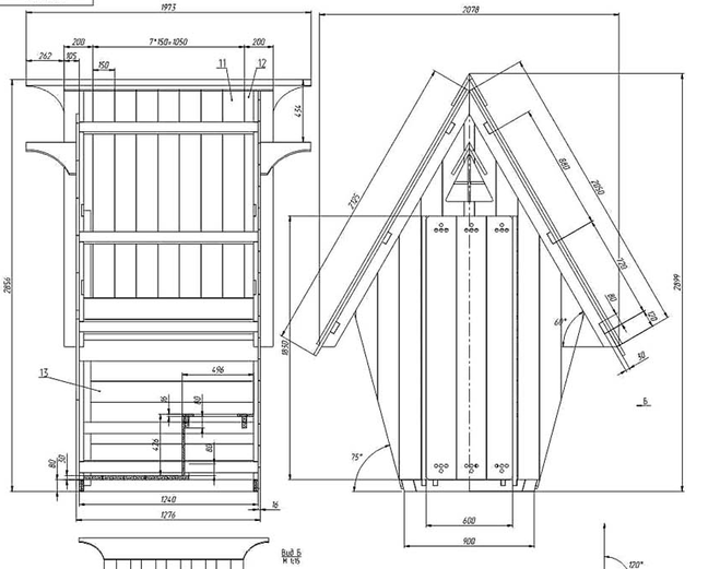 Схема дачного туалета своими руками с размерами 35