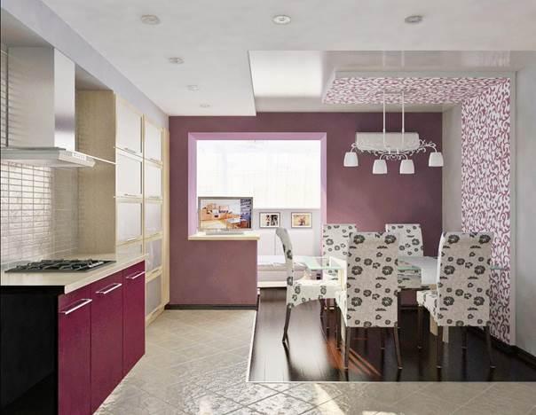 обои розовые на кухне фото