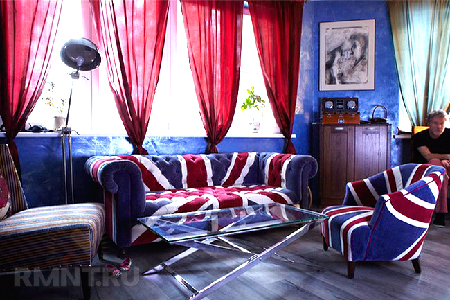 Интерьер синий с бордовый 191