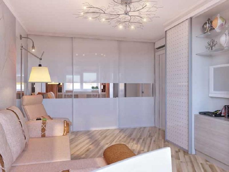 Interior design living room in light tones of 16-18 square m.