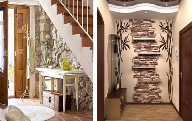 Сочетание обоев и декоративного камня в коридоре 12