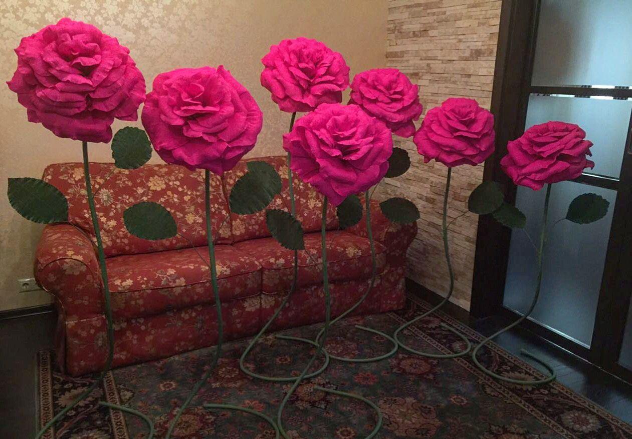 Большие цветы из гофрированной бумаги своими руками для украшения