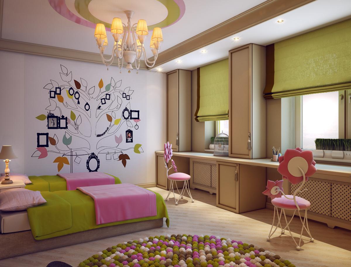Фото интерьеров детских комнат для девочек