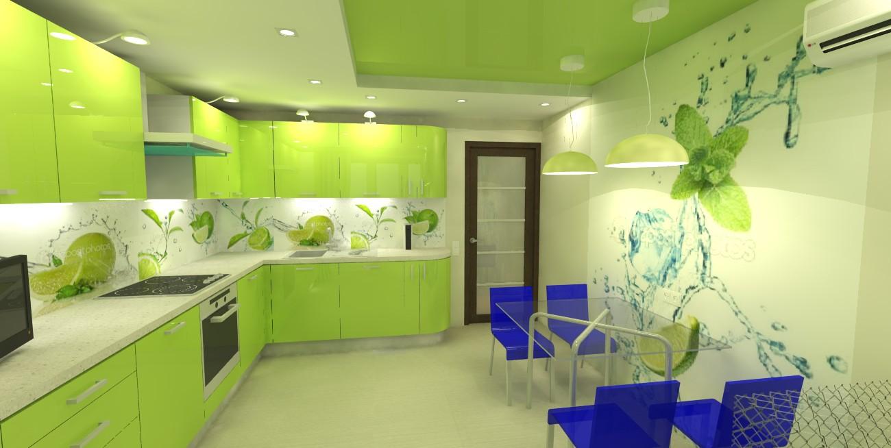 Обои для зеленой кухни в интерьере фото
