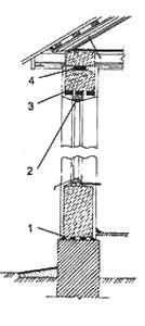 Рис. 1. Монолитная шлакобетонная стена 1. гидроизоляиионный слой; 2. зазор, используемый для осадки стены; 3. перемычка; 4. прокладка (осмоленная доска с изоляцией)