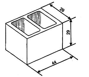 Рис.3. Бетонный блок для фундаментной и подвальной кладки (размеры в см).