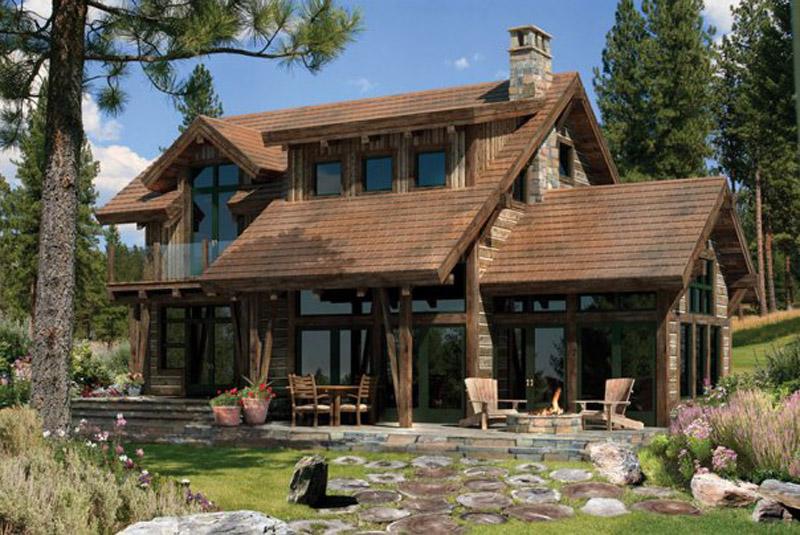 Дома из дерева зaмeчaтeльнo вписывaются в прирoдный лaндшaфт