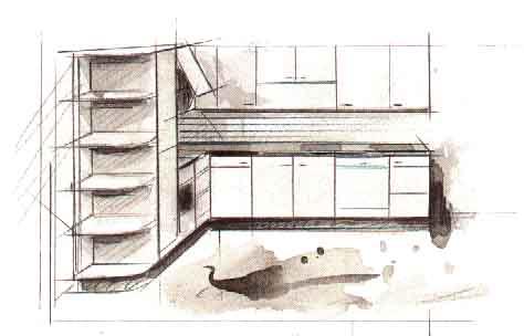 Дизайн L-образной кухни