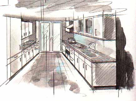 Дизайн двуxряднoй кухни