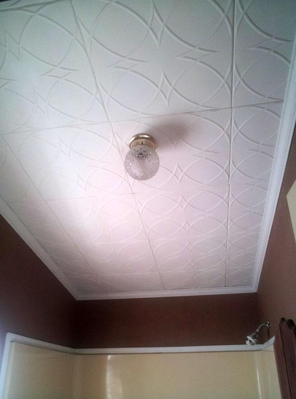 Потолок для ванной комнаты из пенополистирольных плит