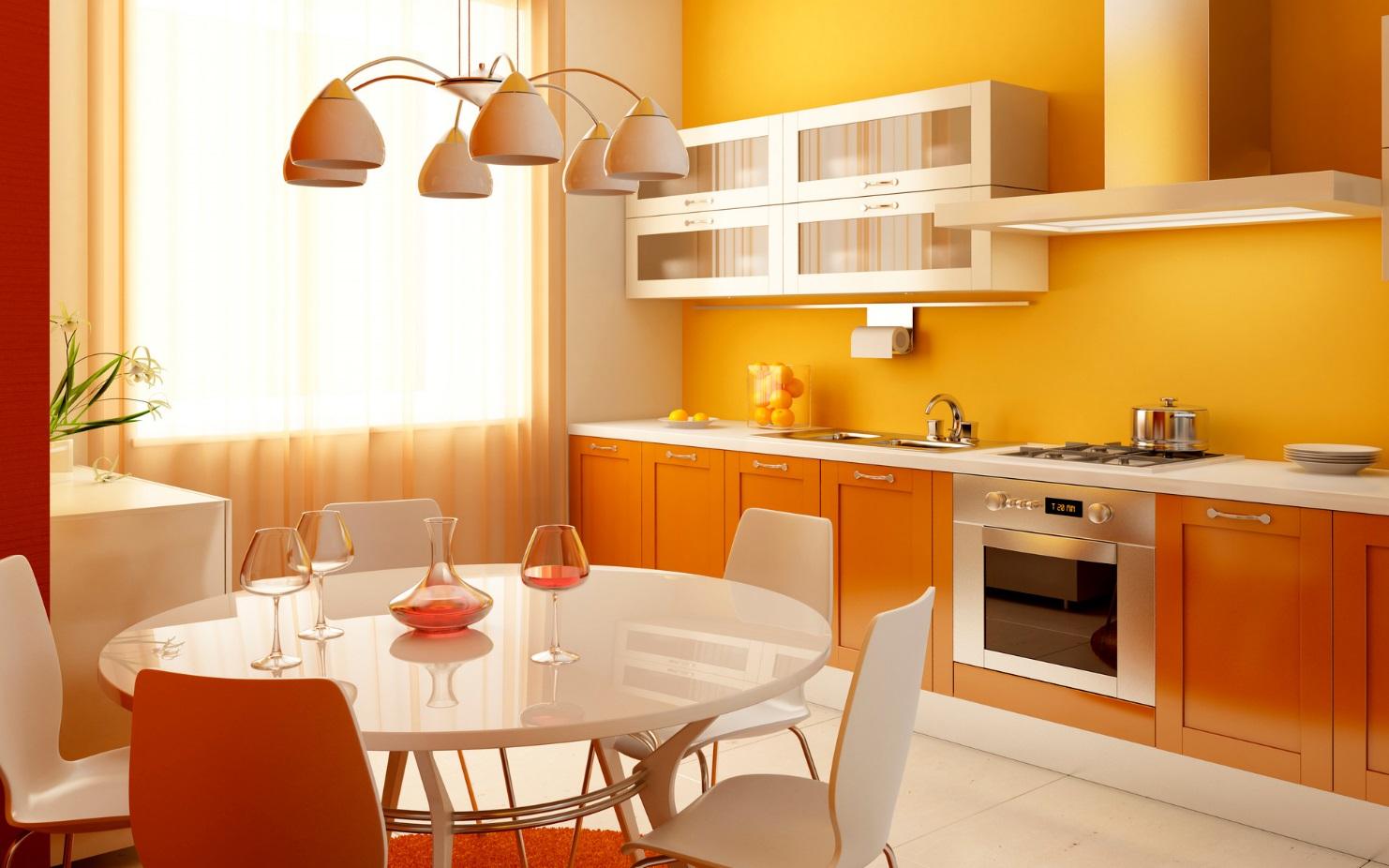 Оранжевые обои на кухне   фото