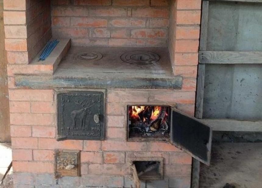 печь с плитой схема