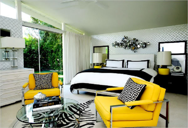 Интерьер спальни в теплых тонах + фото