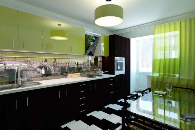 Салатовая кухня: интерьер и фото