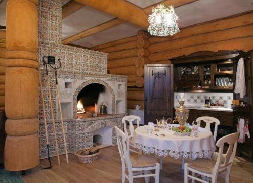 Кухня на даче в деревянном доме