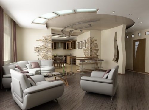 Дизайн-проект гостиной-кухни 25 кв. метров