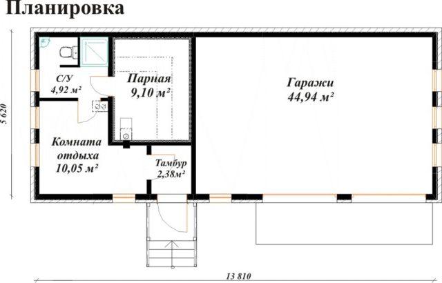 Баня и гараж под одной крышей