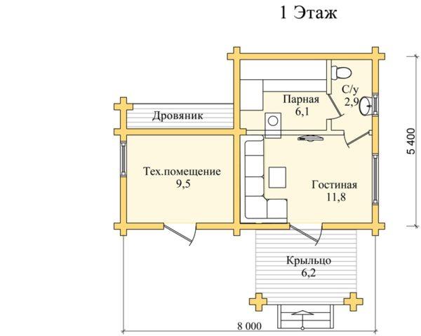 Баня с хозблоком: с туалетом, дровником