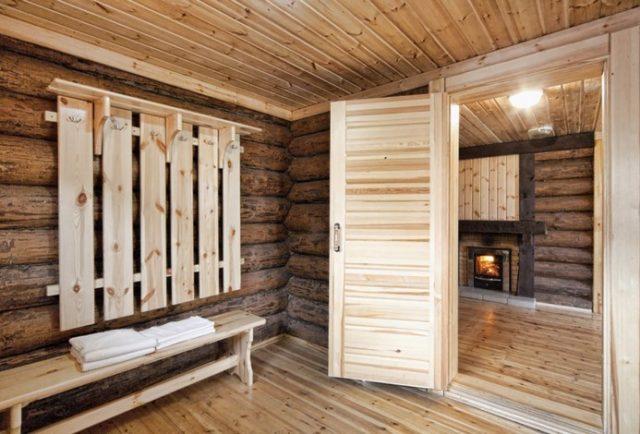 Раздевалка в бане: дизайн, фото