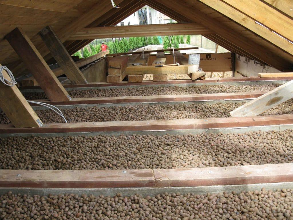 Как утеплить потолок в доме или бане керамзитом