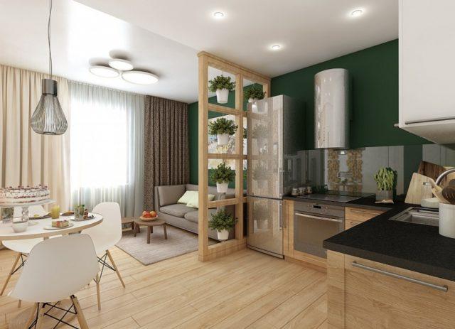 Интерьер гостиной-кухни в частном доме