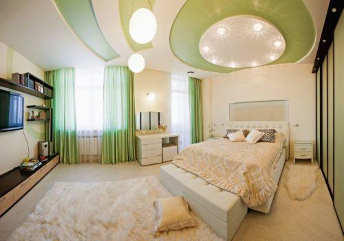 Салатовый натяжной потолок