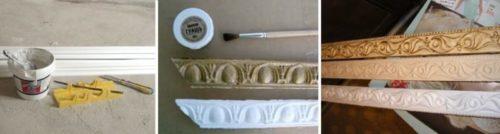 Как покрасить потолочный плинтус из пенопласта
