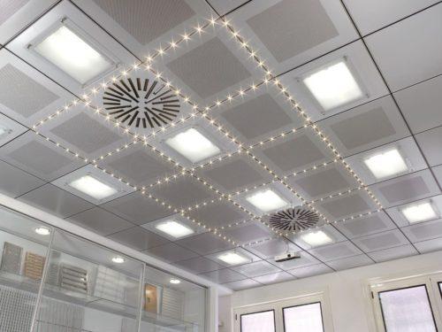 Реечный кубообразный потолок Албес