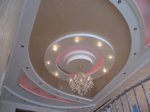 Многоуровневые потолки из гипсокартона: фото