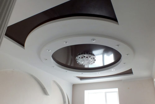 Многоуровневые натяжные потолки для зала