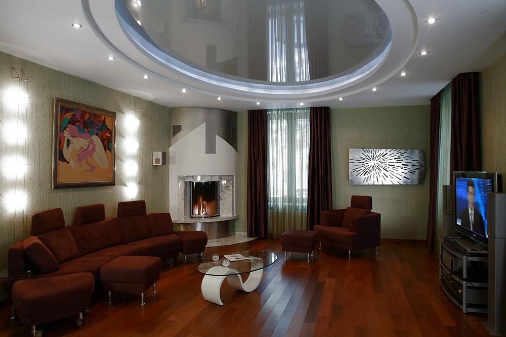будем натяжные потолки в гостиную многоуровневые фото таком