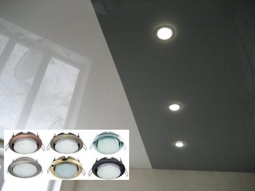 Светильники для натяжных потолков: фото
