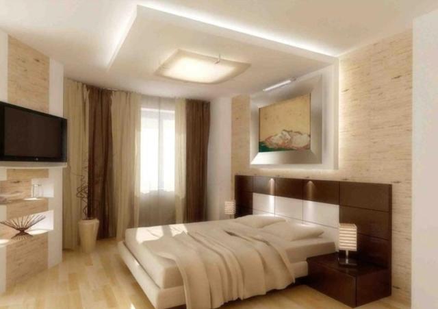 Потолки из гипсокартона в спальне